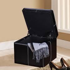 Ottoman Cube Adeco Black Bonded Leather Contrast Stitch Square Cube Ottoman