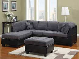 Gray Leather Sectional Sofas Grey Fabric And Black Leather Sectional Modern Sectional Sofas