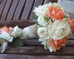 country wedding bouquets coral and chagne rustic wedding bouquet silk bridal