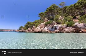 abandoned house on the rocks in la vall beach stock photo offset