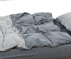 Duvet Covers College Cotton Jersey Duvet Cover Set Grey Ticking Stripe Duvet Cover