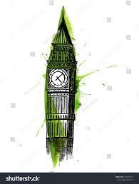 London Clock Tower Clock Tower Hand Drawn Big Ben Stock Vector 393486127 Shutterstock