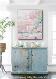 blue and green home decor giclee print art abstract pink white painting modern wall art decor