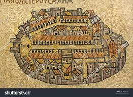 Map Of Jerusalem Map Jerusalem Mosaic Cardo Jerusalem Israel Stock Photo 5099101
