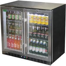 heated glass 2 door commercial alfresco stainless steel bar fridge