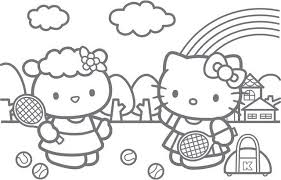 col hello kitty playing tennis free coloring pages bebo pandco