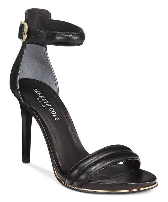 Kenneth Cole New York Brooke Open Toe Bridal Ankle Strap, Black,