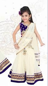 lovely white white net designer readymade kids lehenga saree dt52242