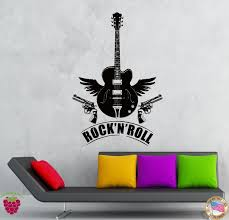 compare prices on guitar vinyl stickers online shopping buy low g064 wall stickers vinyl decal rock n roll guitar guns music rock decor living