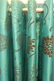 Teal Curtains Pair Of Teal Blue Turquoise U0026 Brown Taffeta Eyelet Curtains 90