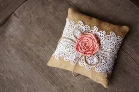 coral salmon lace burlap ring bearer pillow rustic wedding