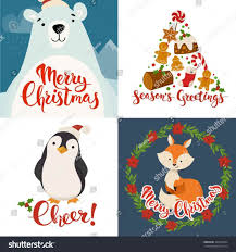 merry christmas alphabet letters happy animals greetings stock