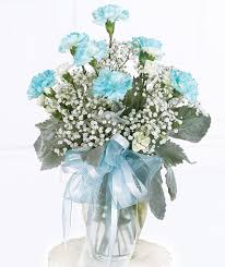blue carnations dierbergs sympathy funeral arrangements angel in blue