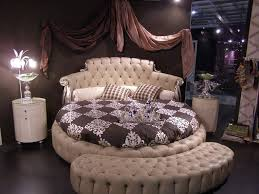 bedroom spacious round beds inspiration with black pattern bed