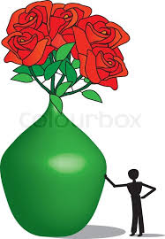 Vase Of Flowers Drawing Green Vase And Red Flowers Drawing Stock Vector Colourbox