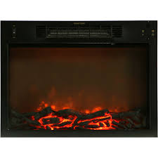 sienna 34 in electric fireplace w 1500w log insert and black