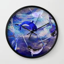 narwhal wall clocks society6