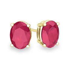 ruby stud earrings oval ruby stud earrings in 14k gold 4 prong studs 7x5mm