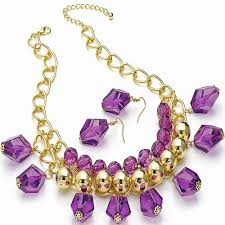 ladies necklace images Ladies gold plated ball bead costume purple faceted imitation jpg