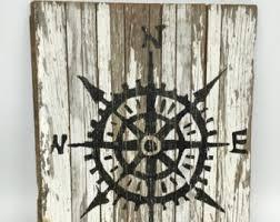 wood compass wall coastal wall decor etsy