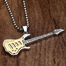 guitar necklace jewelry images Stainless steel punk rock guitar necklace university of rock jpg