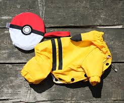 Pokeball Halloween Costume Pokemon Pikachu Dog Costume Raincoat Dog Costume