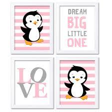 penguin nursery art baby pink grey dream big little one love zoom