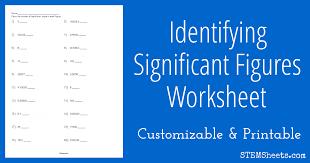 identify significant figures worksheet stem sheets