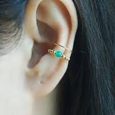 conch piercing cuff 14k gold filled band ear cuff with gem green onyx