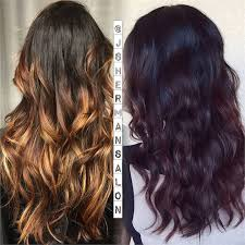 coke blowout hairstyle transformation ombre to dark cherry cola career modern salon