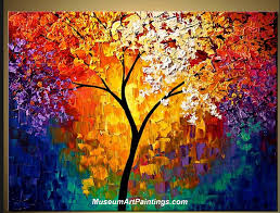 palette knife oil painting landscape tree 011