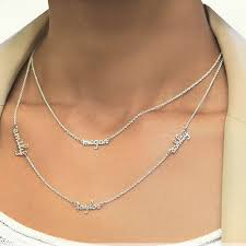 personalized sterling silver necklace personalized sterling silver layer necklace 4 names gallery
