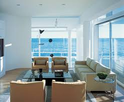 nautical living room special with modern brown seating area