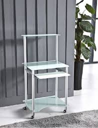 Small Glass Computer Desk Custom Tempered Modern Glass Computer Desk For Small Spaces 38mm