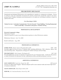 Work Experience Resume Format For It by Free Printable Phlebotomy Resume And Guidelines