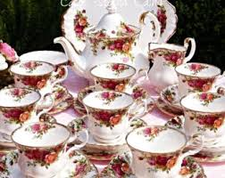 country roses tea set tea set etsy