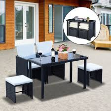 5 Piece Patio Dining Sets - outsunny 5 piece outdoor rattan wicker dining set dining sets