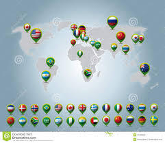 World Map Pins by Europe Map With Countries Flags Location Pins Stock Illustration