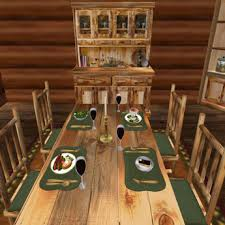 Log Dining Room Table Second Life Marketplace Special Sale Price Menu Driven Dining