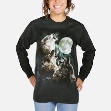 three wolf moon sleeve shirt usa cotton