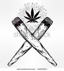 two crossed weed joints spliffs leaf stock vector 545522671