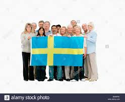 Flag People Group Of People Holding The Swedish Flag Stock Photo Royalty Free