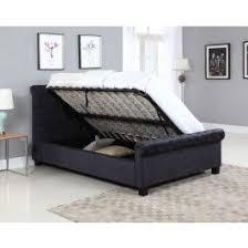 Ottoman Bed Black Flair Furnishings Lola Fabric Upholstered Sleigh Ottoman Bed Black