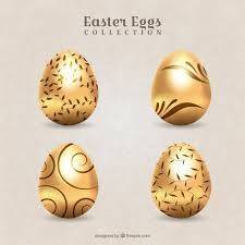 golden easter egg pack of decorative golden easter eggs vector free
