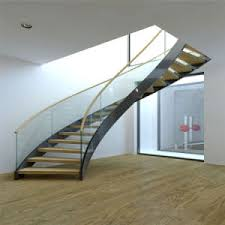 china prefabricated luxury steel glass stairs interior curved