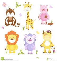 cute vector cartoon animal set stock vector image 40200104