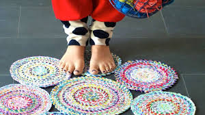 Crochet Rugs With Fabric Strips How To Sew A Circle Rug From Fabric Diy Home Tutorial