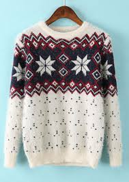 snowflake sweater white sleeve snowflake pattern knit sweater abaday com