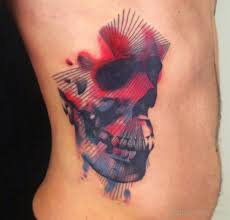 colored skull on rib designs pictures