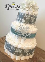 Winter Wonderland Diaper Cake Winter Baby Shower Snowflake